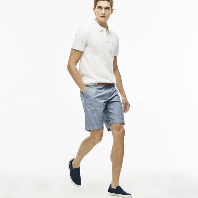 Men's Regular Fit Gingham Cotton Canvas Bermuda Shorts