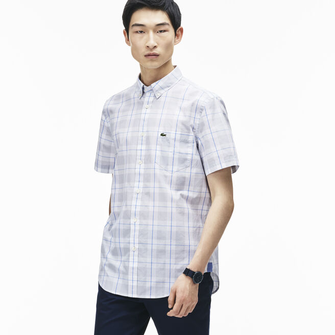 Men's Regular Fit Checked Cotton Poplin Shirt