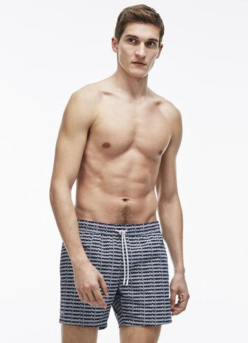 Men's Short Cut Lettering Print Swimming Trunks
