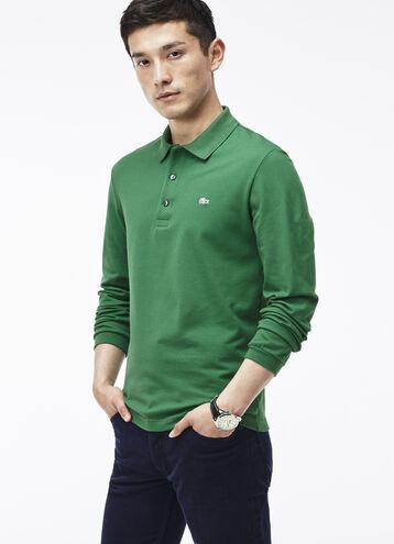 Men's Slim Fit Long Sleeve Piqué Polo Shirt