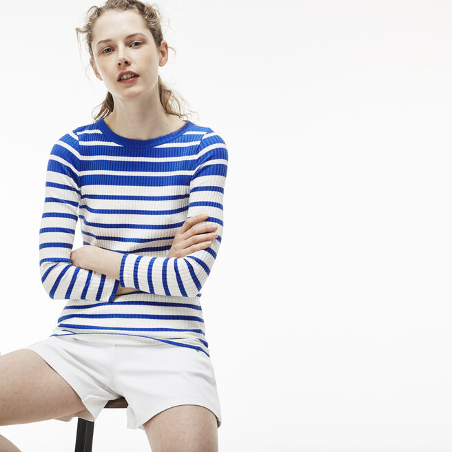 Women's Striped Cotton Interlock T-Shirt