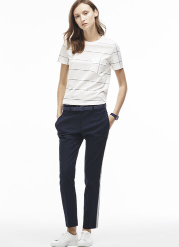 Women's Woven Cotton Jersey Accents Chino Pants