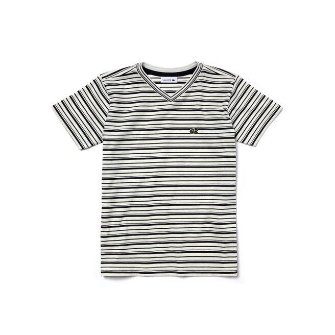 Kids' V-Neck Striped Jersey T-Shirt