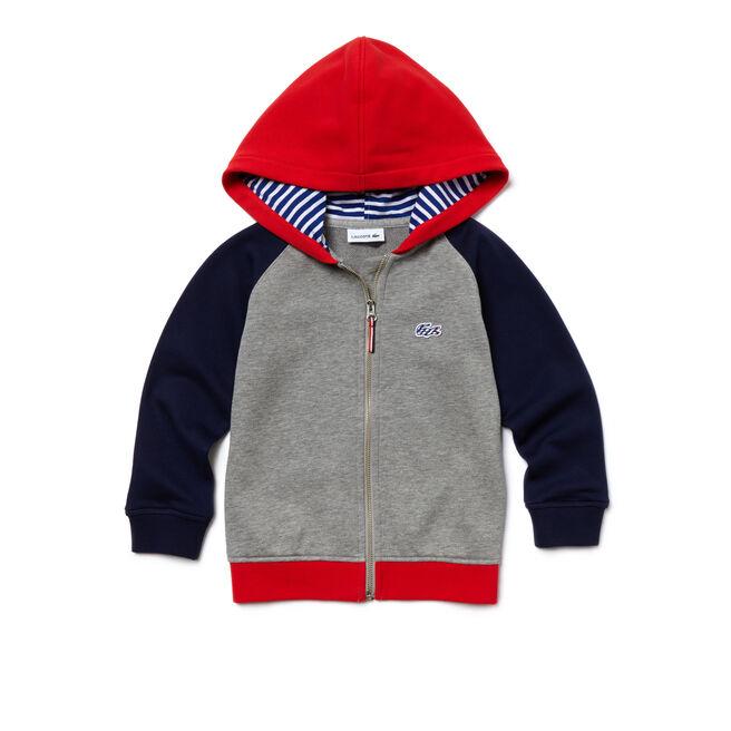 Kids' Hooded Zippered Colorblock Fleece Sweatshirt