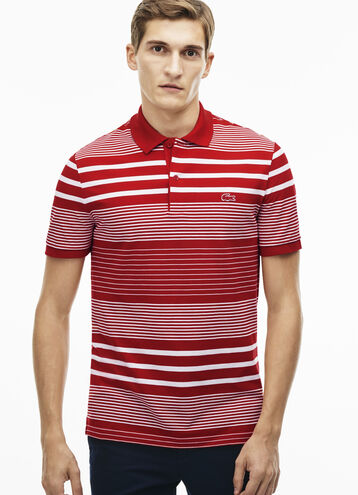 Men's Slim Fit Striped Cotton Petit Piqué Polo Shirt