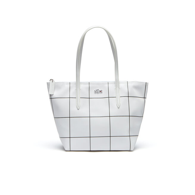 Women's L.12.12 Concept White Squares Small Zip Tote Bag
