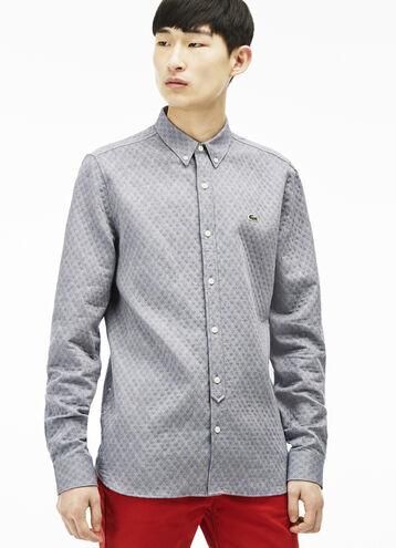 Men's Lacoste L!VE Slim Fit Lozenge Pattern Shirt