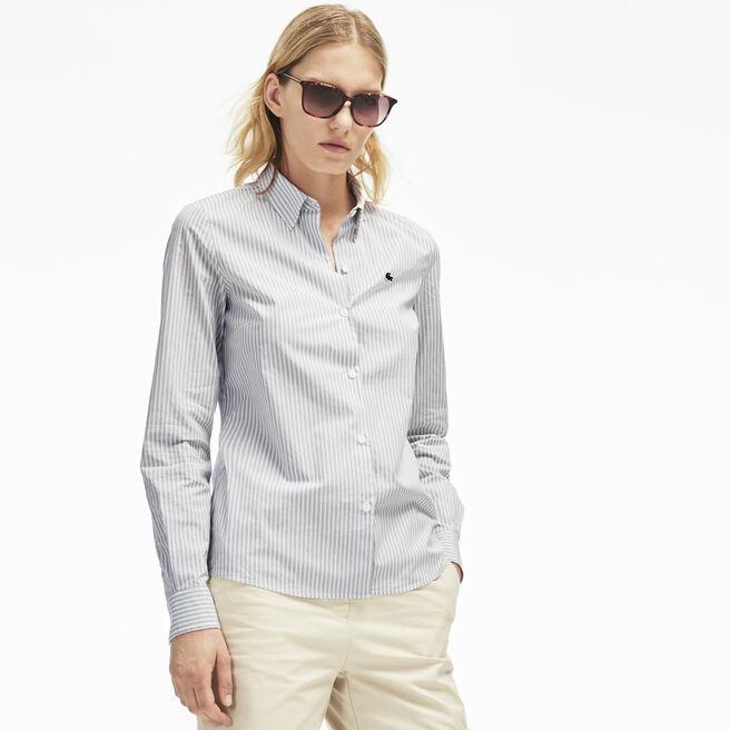 Women's Stripe Cotton Poplin Shirt