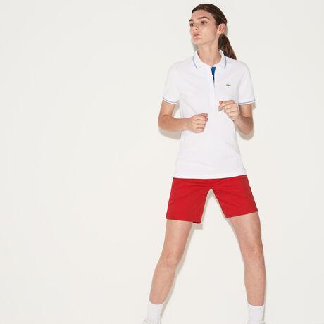 라코스테 스포츠 폴로 피케 티셔츠 Lacoste Womens SPORT Light Stretch Golf Polo,white/medway blue