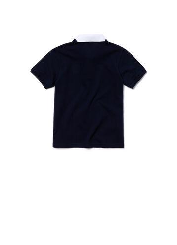 Kids' Color Block Collar Cotton Piqué Polo Shirt