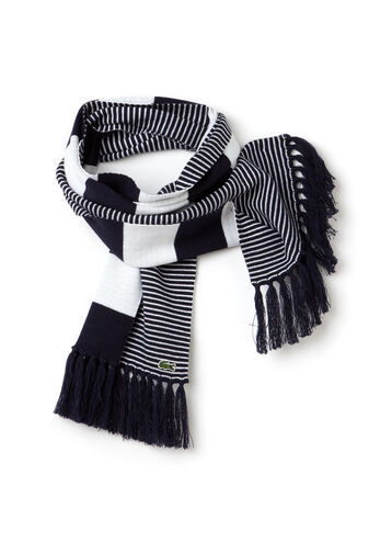 Men's Lacoste LIVE Cotton And Wool Fringe Scarf