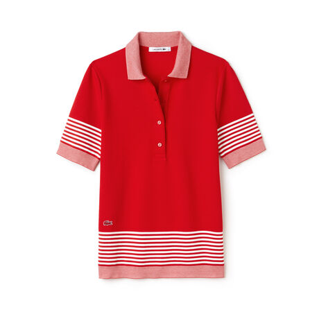 Women's Flowing Honeycomb Striped Piqué Polo Shirt