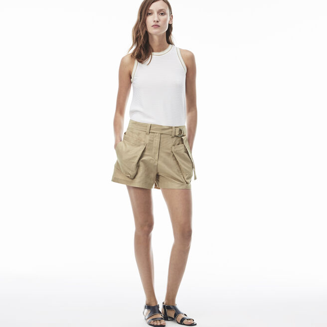 Women's Canvas Contrast Drawstring Bermuda Shorts