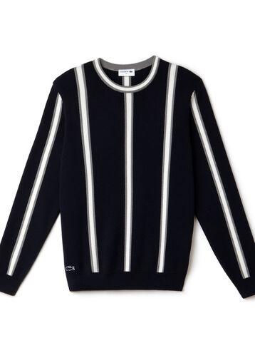 "Men's ""Made in France"" Vertical Stripe Cotton Crewneck Sweater"