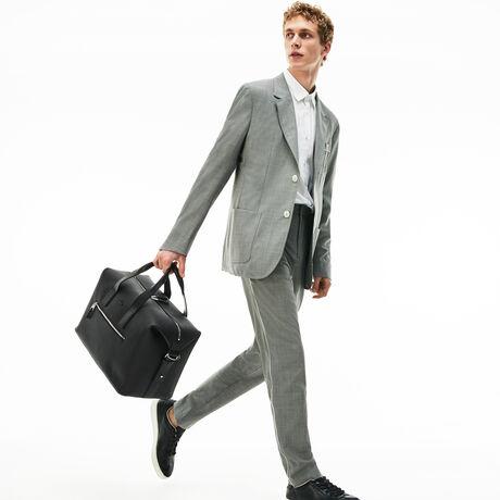 라코스테 더플백 Lacoste Mens Chantaco Matte Pique Leather Weekend Bag,BLACK