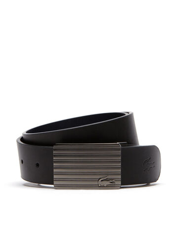 Men's Reversible Leather Belt And Two Buckles Gift Set