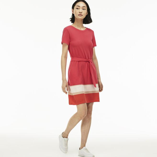 Women's Colorblock Band Piqué T-Shirt Dress