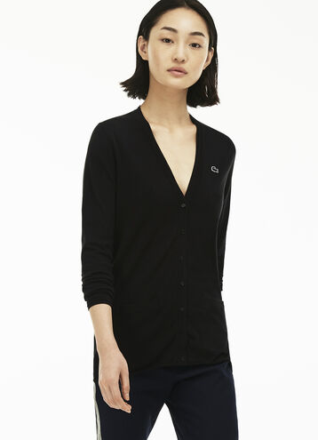 Women's Cotton Jersey V-Neck Cardigan