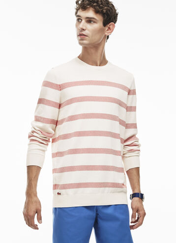 Men's Striped Cotton Jacquard Sweater