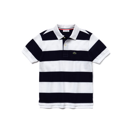 Boy's Bar Striped Cotton Polo Shirt