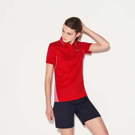 라코스테 스포츠 폴로 티셔츠 Lacoste Womens SPORT Technical Knit Golf Polo,red/alice-white