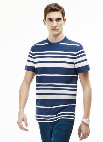 Men's Crew Neck Striped Cotton Honeycomb T-Shirt