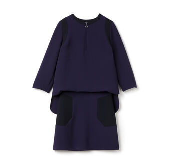 Women's Crepe Quarter Sleeve Twofer Dress
