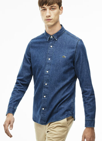 Men's L!VE Slim Fit Pocket Denim Shirt