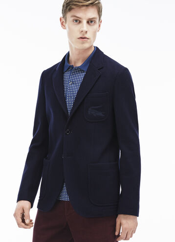 Men's Cotton And Wool Blend Knit Jacket