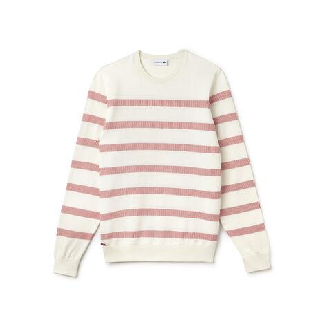 Men's Striped Cotton Jacquard Sweater
