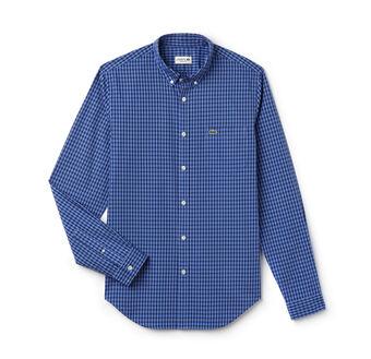 Men's Gingham Regular Fit Checked Poplin Shirt