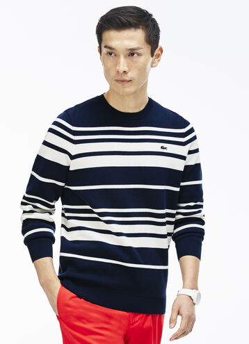Men's Crew Neck Striped Milano Cotton Sweater
