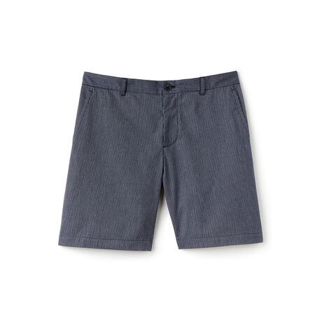 Men's Striped Cotton Crepon Bermuda Shorts