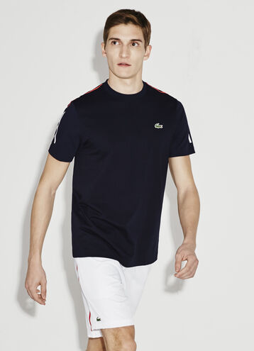 Men's SPORT Light Net Print Knit Crew Neck Tennis T-Shirt