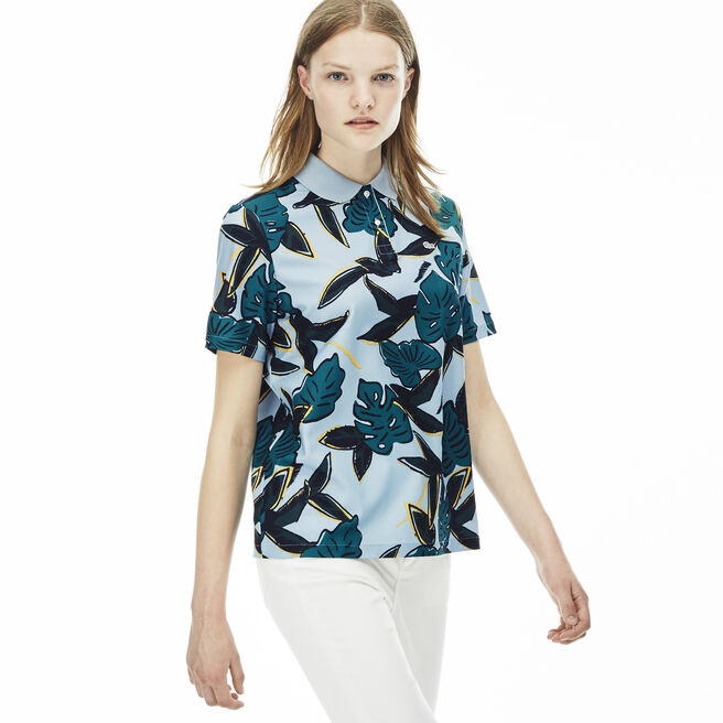 Women's L!VE Tropical Print Voile Polo Shirt