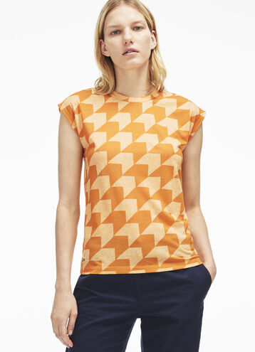 Women's Gingham Striped Jersey Crew Neck T-Shirt