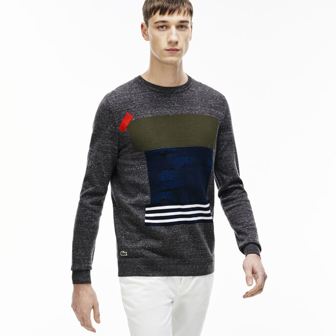 Men's L!VE Crew Neck Colorblock Patch Jersey Sweater