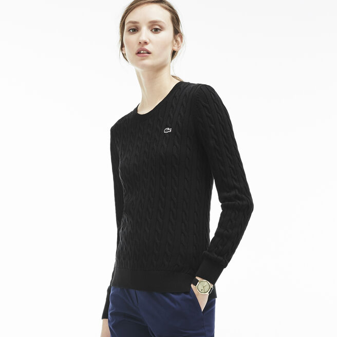 Women's Cotton Cable Knit Crewneck Sweater