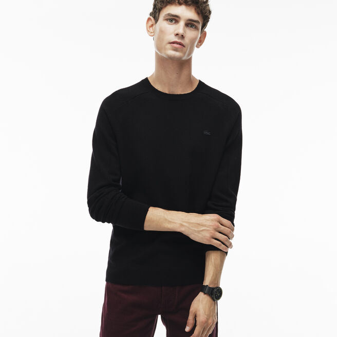 Men's Crew Neck Unicolor Cashmere Jersey Sweater