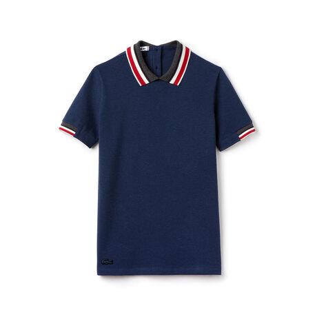 Women's Contrast Stripe Rib Collar Polo Shirt