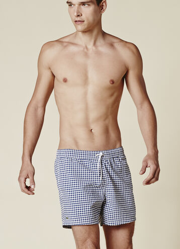 GINGHAM TAFFETA SWIM SHORT