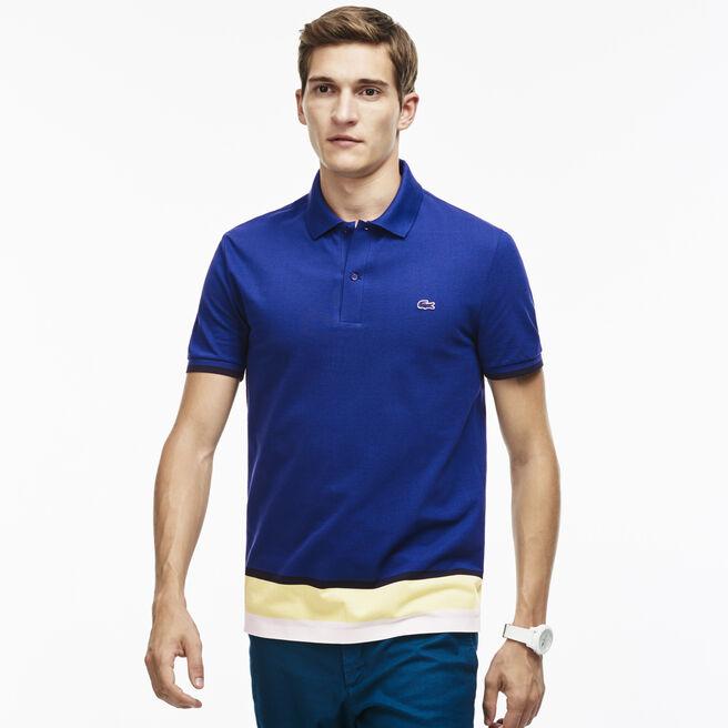 Men's Slim Fit Petit Piqué Colorblock Band Polo Shirt