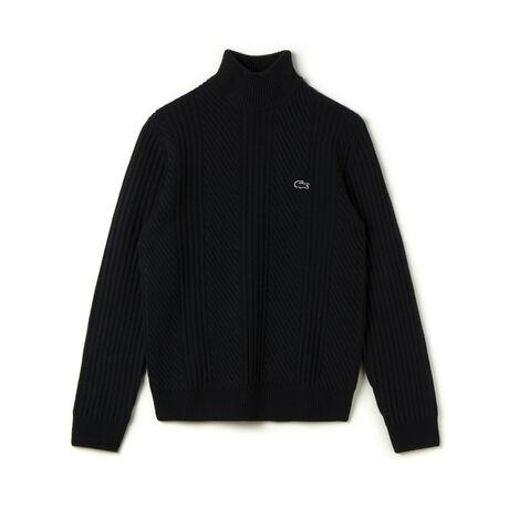 Men's Knit Effect Wool Crewneck Sweater