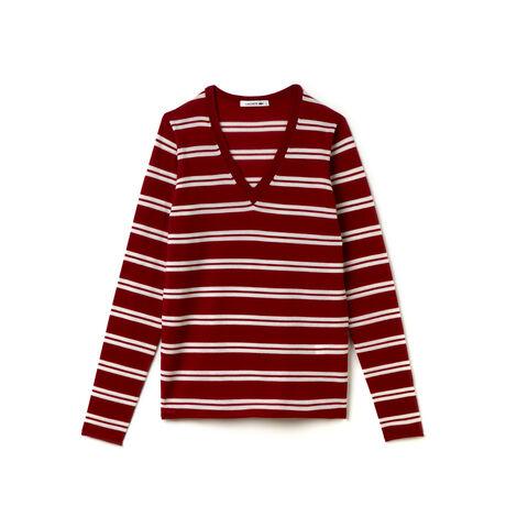 Women's Wool Jersey Striped V-Neck Sweater