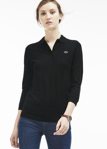 Women's Wool Jersey Sweater Polo