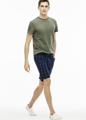 Men's Slim Fit Net Print Cotton Twill Bermuda Shorts