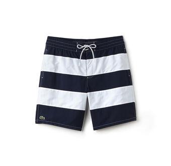 Men's Long Cut Striped Swimming Trunks