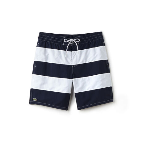 Men's Long Cut Striped Swimming Trunks