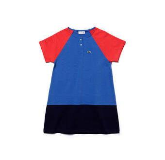 Kids' Colorblock Stretch Cotton Fleece Dress