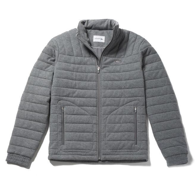 Men's Built-in Hood Quilted Piqué Jacket